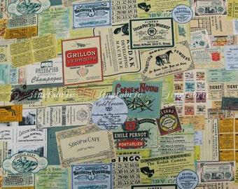 """L384B - Cotton Linen Fabric - Vintage Ticket Collage - Fat Quarter  - 27"""" x 19""""(70 x 50cm)"""