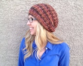 CLEARANCE Variegated Slouch Beanie in Choco Knit Hat Brown Stripes