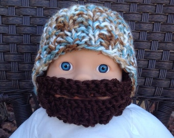 Baby Bearded Beanie -  White, Blue and Brown Hat W/ Dark Brown Beard 6-12 Months Beard face mask