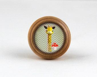 Cartoon - Handmade Wooden Domed Dresser knobs Drawer Knobs Decorative Knobs for Kids