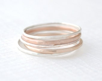 Mixed Stacked Rings - hammered stacking rings - 4214