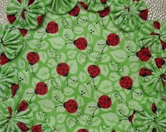 Lovely Ladybugs on Green Leaves Yo Yo Doily - penny rug style candle mat