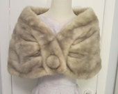 Vintage 1950s Mink Stole Silver Blue Cross Perfect Bridal Winter Wedding