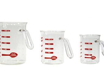 Betty Crocker Beaker Measuring Cups - Vintage - Set of Three - Glass - Baking