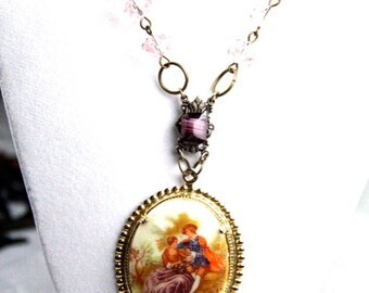 A Moment in Time Vintage Cameo History Geek Girl Necklace