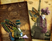 "Victorian Steampunk Fairies - Paris, Airships - 2.5x3.5"" - Set of 8 - Scrapbooking, Labels, Tags, Cards - Digital Downloads, Printables"