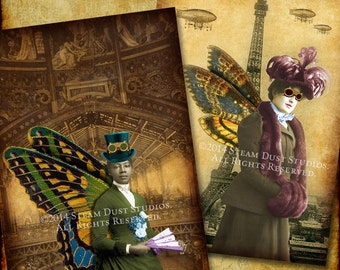 """Victorian Steampunk Fairies - Paris, Airships - 2.5x3.5"""" - Set of 8 - Scrapbooking, Labels, Tags, Cards - Digital Downloads, Printables"""
