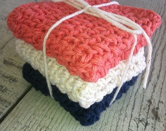 Crocheted Dish Cloths -  3 medium and double thick,  100% cotton, coral, unbleached cotton and navy blue
