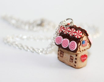 Gingerbread House Necklace - Fairy Tale Necklace - Kawaii Necklace