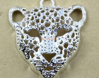 2Pcs Silver leopard Charm leopard Pendant 56x50mm (PND466)