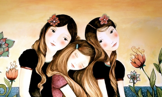 Three sisters at sunset art print