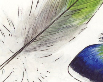 ACEO Feather Study ORIGINAL Painting / Art Card