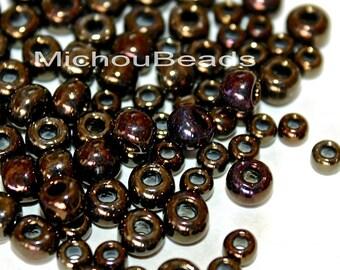 50 Grams - 8/0  Round Metallic IRIS Brown TOHO Seed Beads - 2.5mm Rounded Czech / Japanese Glass Boho Beads - Large 1.7mm Hole - USA - 5645