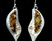 Sterling silver bronzite earrings.  Bird earrings artisan made with 14K gold filled accents