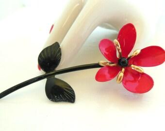 Vintage Brooch Enameled Flower Red Green - Black 50's (item 32)