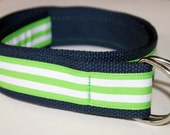 "Navy and Green Belt Striped Ribbon Belt Wide Adult BElt Green Stripe Belt Ladies Green Belt Mens Striped Belt Preppy Adult Belt 1.5"" Belt"
