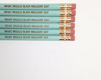what would blair waldorf do engraved pencils in light baby blue. back school supplies