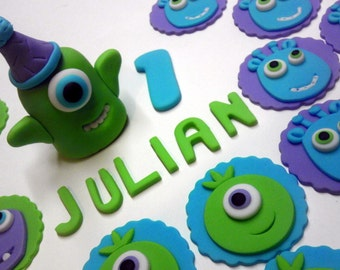 Monsters, Birthday Party, Personalized, Edible Fondant Cake Top and/or Cupcake or Cookie Toppers