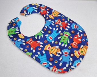 Blue Sock Monkey Print bib. Ready to ship