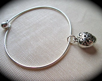 "Heart bangle bracelet with silver filigree puffed heart charm 7 1/2""   Great Gift!"