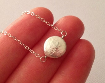 Tiny Pearl Necklace in Sterling Silver