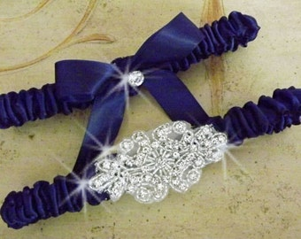 Sophisticated Lady Navy Satin and Rhinestone Wedding Garter Set  Pick Your Color/  Custom Bridal Garter Set/