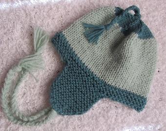 Knit wool earflap hat