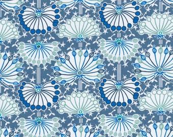 Fat eighth Umbel B blue and aqua seedpod Liberty of London Classic print, Liberty print