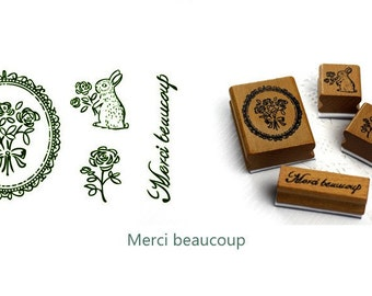 Wooden Rubber Stamp Tin Box Set - France Charm Collection - Merci beaucoup - 4 Pcs
