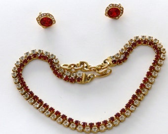 christmas red and clear rhinestone necklace and earrings