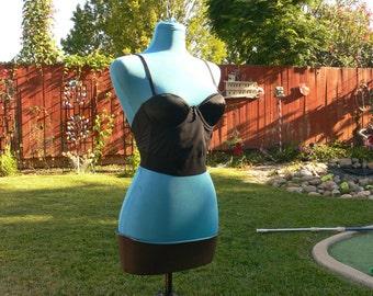 olga black boned strapless low back corset size 34a