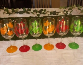 Fall leaves hand painted wine glasses.