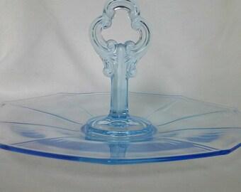Vintage Pale Blue Glass Tidbit Tray by Cambridge Glass
