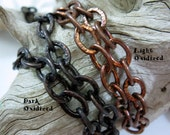 "18"" Large Link Copper Chain, Choice of Finish, Hammered Link, Bulk Chain"
