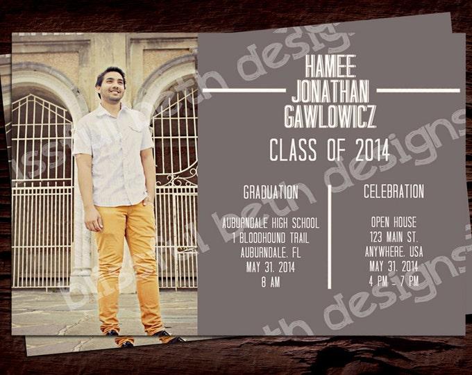 PERSONALIZED GRADUATION INVITATION Modern Graduation Invitation, Photo Graduation Invitation, Photo Grad Invite