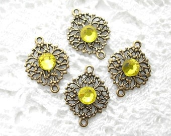 4 Piece Set of Filigree Brass Connectors with Lemony Yellow Rhinestones