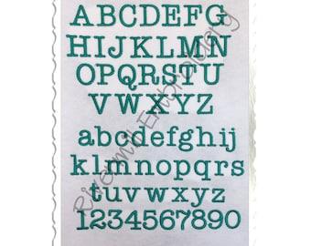Typewriter Machine Embroidery Font Monogram Alphabet - 3 Sizes
