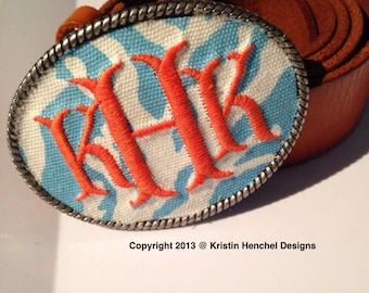 Kristin Henchel custom women's personalized monogram belt buckle - aqua coral fabric with orange monogram