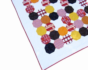Lap quilt, modern geometric quilt, toddler quilt, baby quilt, baby blanket, wall hanging, gender neutral, red, orange, yellow, brown
