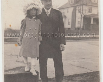 Vintage/Antique beautiful photo of a father in a very nice suit and daughter in a long coat