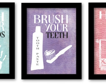 Wash Your Hands, Brush Your Teeth, Hang your towel, Kids bathroom wall art, bathroom prints for kids