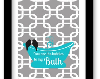 Bathroom Art, You are the Bubbles to My Bath Quote, Greek Key, Modern Bathroom Decor, Birds, Black and White