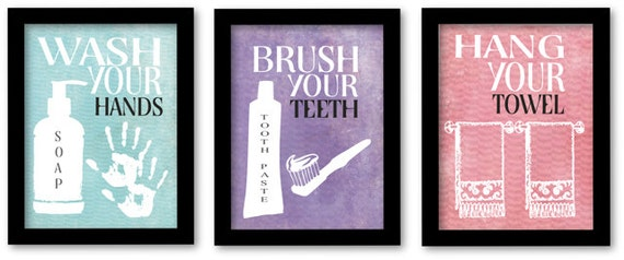Wash Your Hands, Brush Your Teeth, Hang Your Towel, Kids Bathroom Wall Art