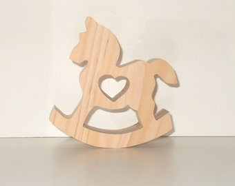 Nursery Rocking Horse With Heart Cutout Free Standing Chunky Wooden Unfinished Handcut Size 5.25 Inches Tall - DIY Baby Shower