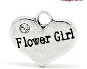 "4 pcs 16mm Antique Silver Rhinestone ""Flower Girl"" Heart Charms Pendants"