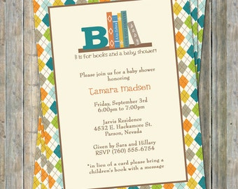 Book Baby Shower Invitation, Boy, in lieu of a card please bring a children's book with a message, digital file
