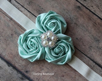 Seafoam green rosette headband ocean blue baby headband