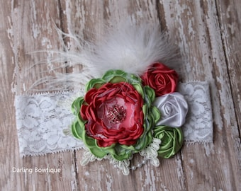 Peach Light Green and White Summer Headband Watermelon inspired rosette headband