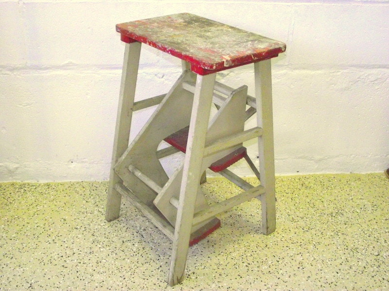 Antique Wood Folding Step Stool Kitchen Rustic Ladder Steps