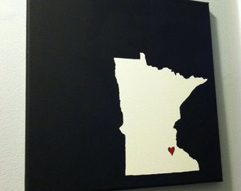 "Minnesota Love Painting - 12x12"" canvas - Customized and hand painted"